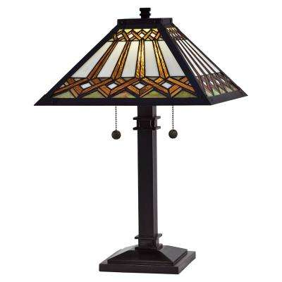 Guillermo 23.75 in. Antique Bronze Table Lamp with Hand Rolled Art Glass Shade
