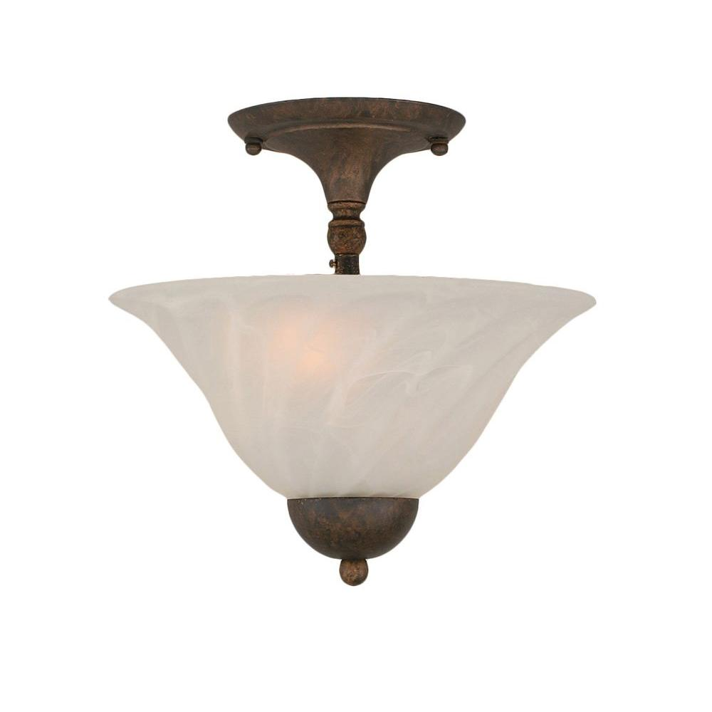 Almeida 2-Light Bronze Semi-Flush Mount Light with Swirl Glass