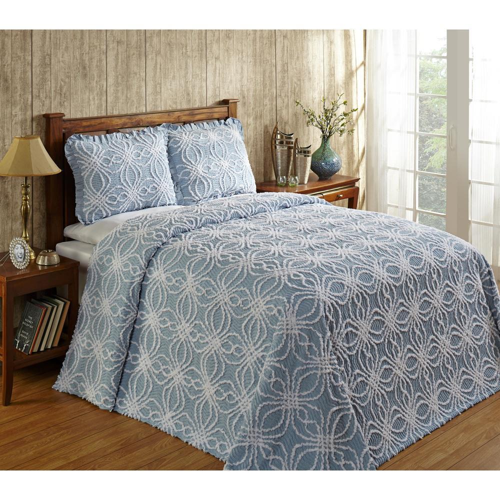 Better Trends Rosa 81 in. x 110 in. Blue Twin Bedspread