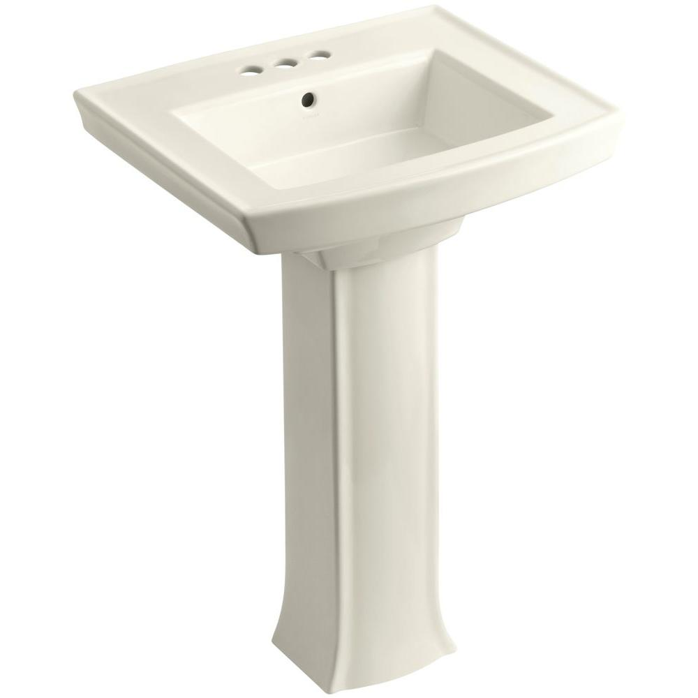 Archer Vitreous China Pedestal Combo Bathroom Sink in Biscuit with Overflow