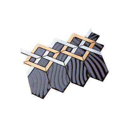 Hexa/04 Brown Sequined Glass Coupled with Silver and Gold Aluminum 12.72 in. x 10.24 in. Wall Tile (11 sq. ft. per Box)