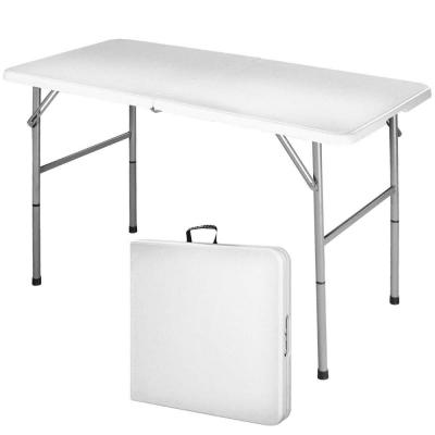 White Rectangle Plastic 28 in. H Folding Portable Outdoor Picnic Table