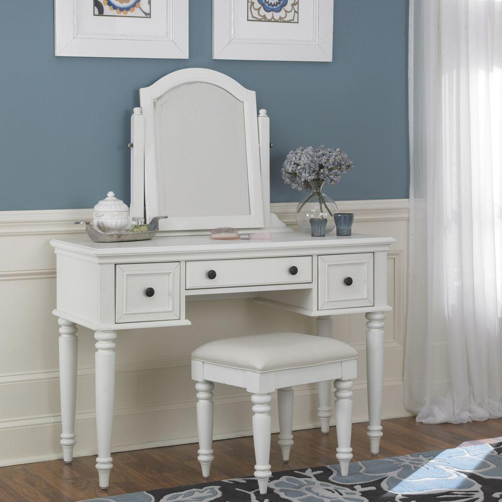 Makeup vanities bedroom furniture the home depot for White makeup dresser