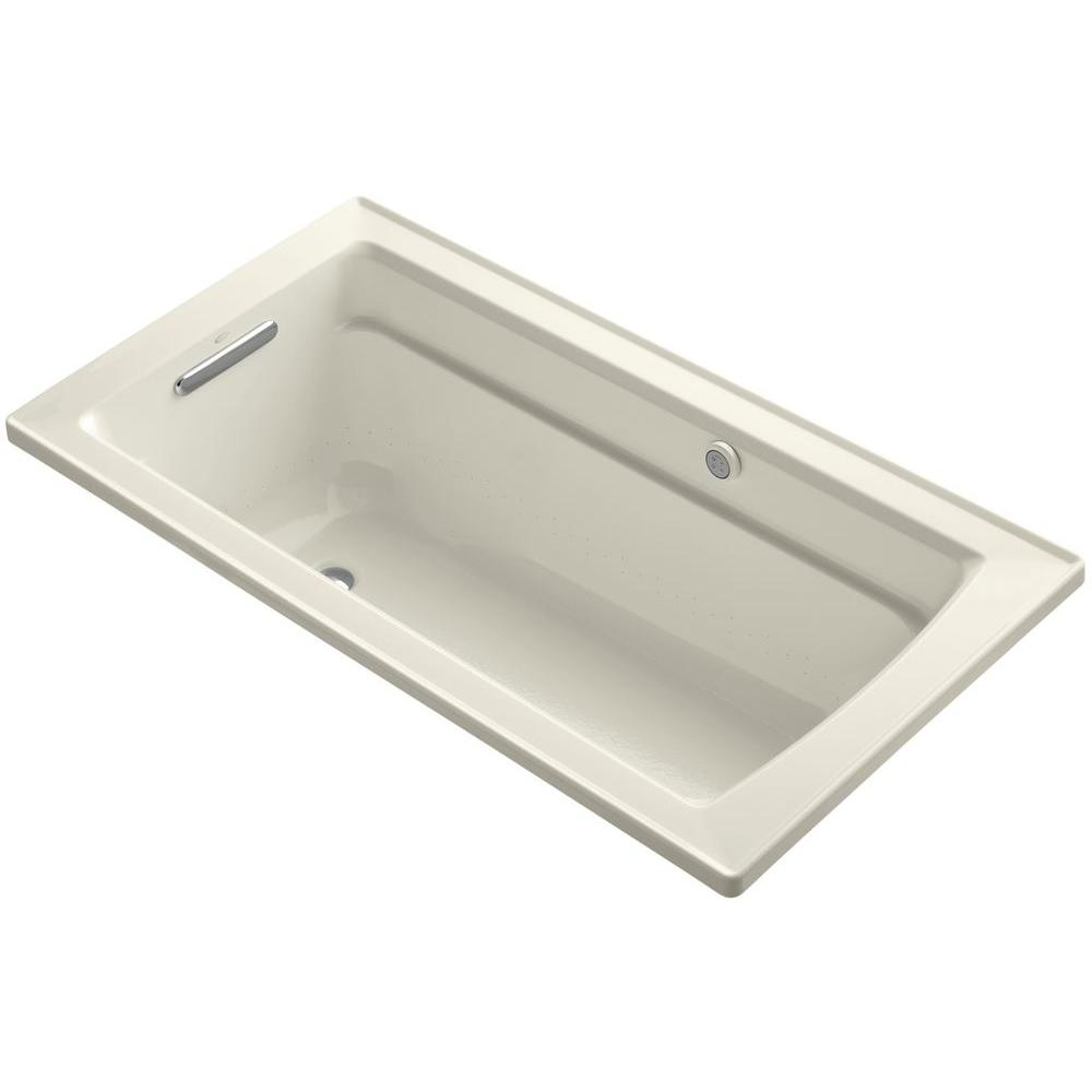 Archer 5 ft. Acrylic Rectangular Drop-in Whirlpool Bathtub in Biscuit