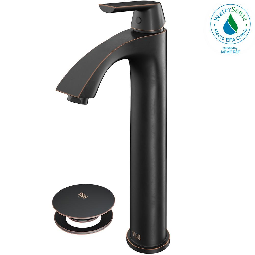 VIGO Linus Single Hole Single-Handle Vessel Bathroom Faucet with Pop-Up Drain in Antique Rubbed Bronze