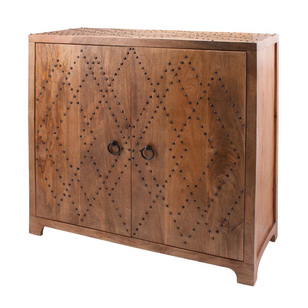 Plaid Nail Head and Natural Woodtone Cabinet