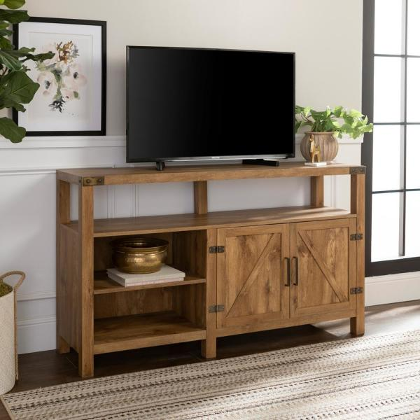 Walker Edison Furniture Company 58 In Barnwood Tv Stand 65 In With Adjustable Shelves Hd58bdhbbw The Home Depot