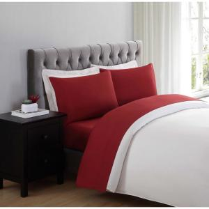 Truly Soft Everyday 4-Piece Red Solid 200 Thread Count Polyester Queen Sheet Set