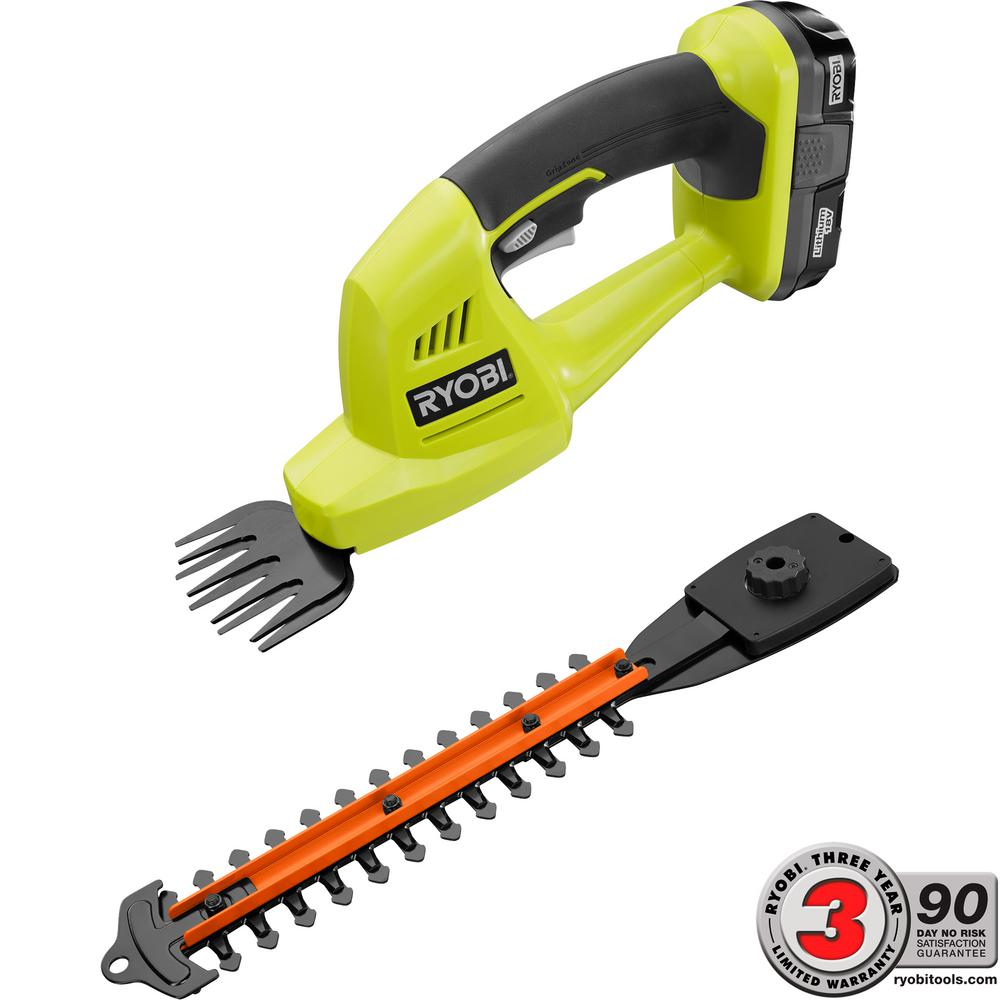 Ryobi one 18 volt lithium ion cordless grass shear and for Electric hand garden shears