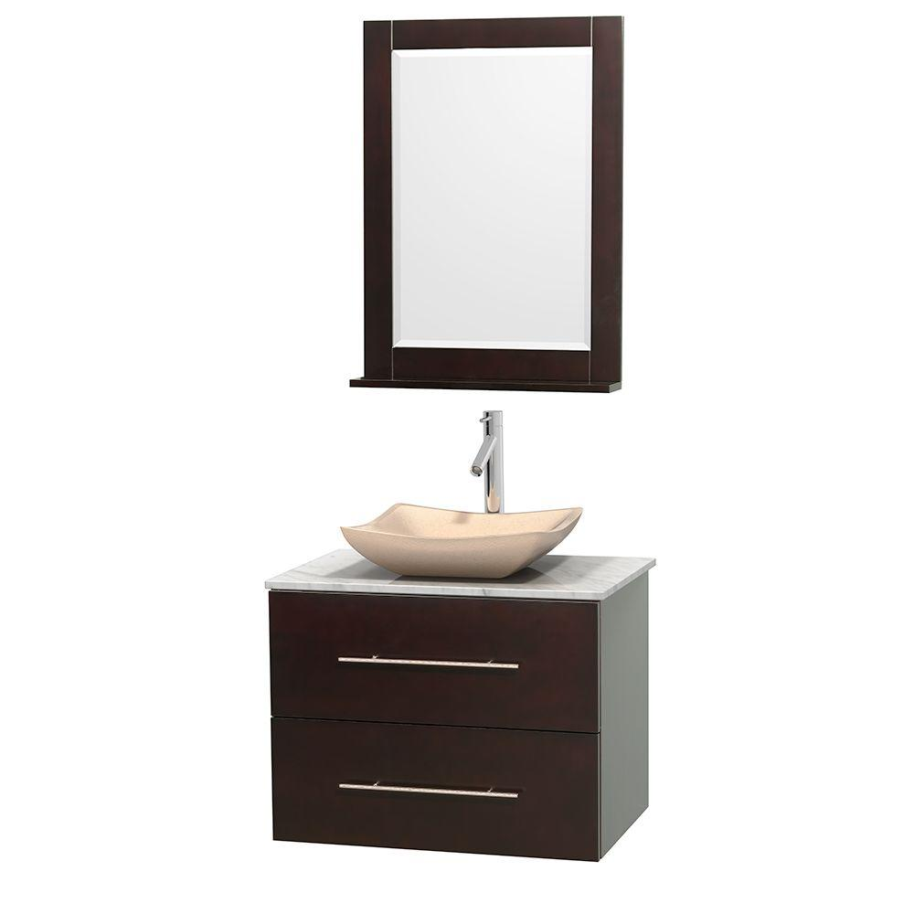 Wyndham Collection Centra 30 in. Vanity in Espresso with Marble Vanity Top in Carrara White, Ivory Marble Sink and 24 in. Mirror