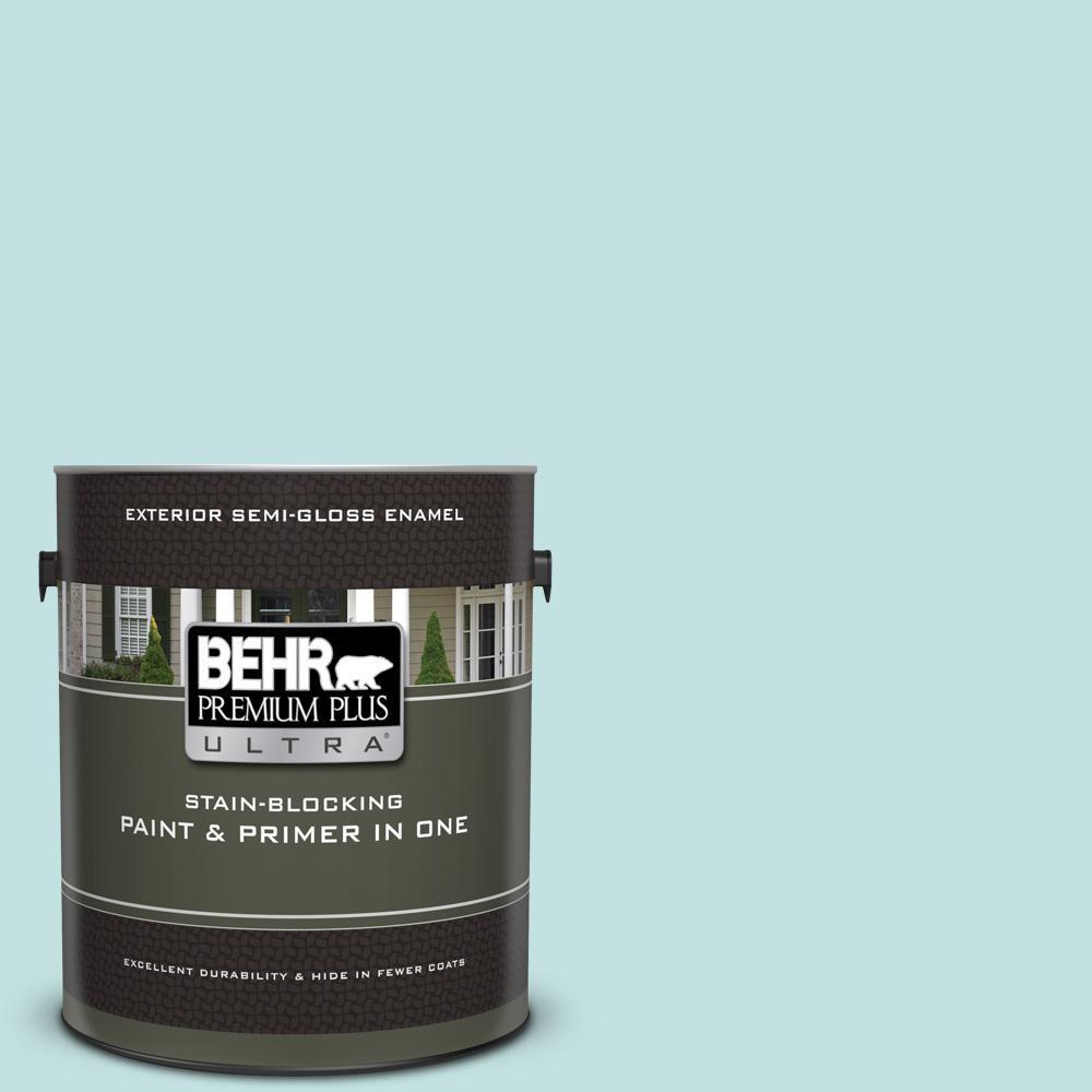 BEHR Premium Plus Ultra 1 gal. #T17-04 Peek a Blue Semi-Gloss Enamel Exterior Paint and Primer in One