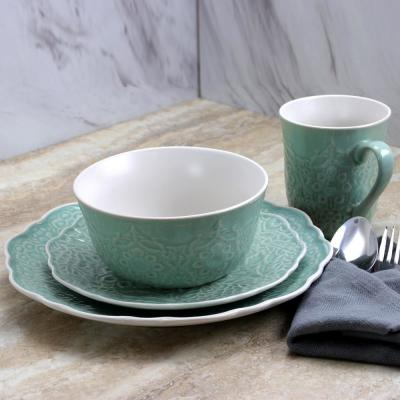 Portina 16-Piece Scallop Shape Celadon Dinnerware Set