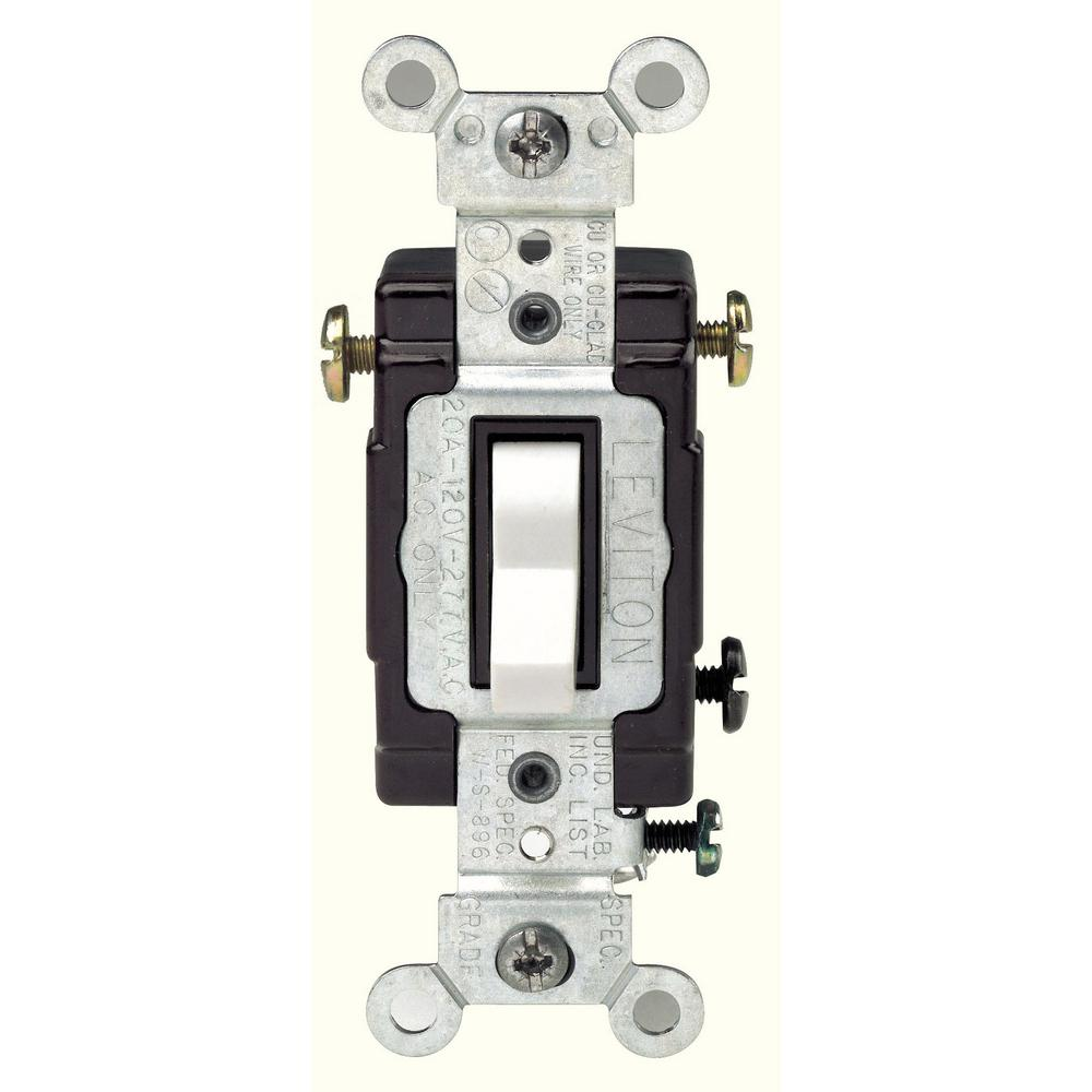 20 Amp 120/277-Volt 3-Way Commercial Grade AC Quiet Toggle Switch, White