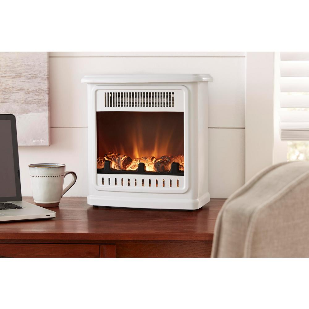 hamptonbay Hampton Bay Crestland 13 in. Desktop Electric Fireplace in White