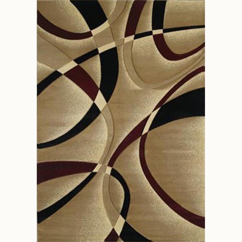 La Chic Burgundy 8 Ft X 11 Ft Contemporary Area Rug 510
