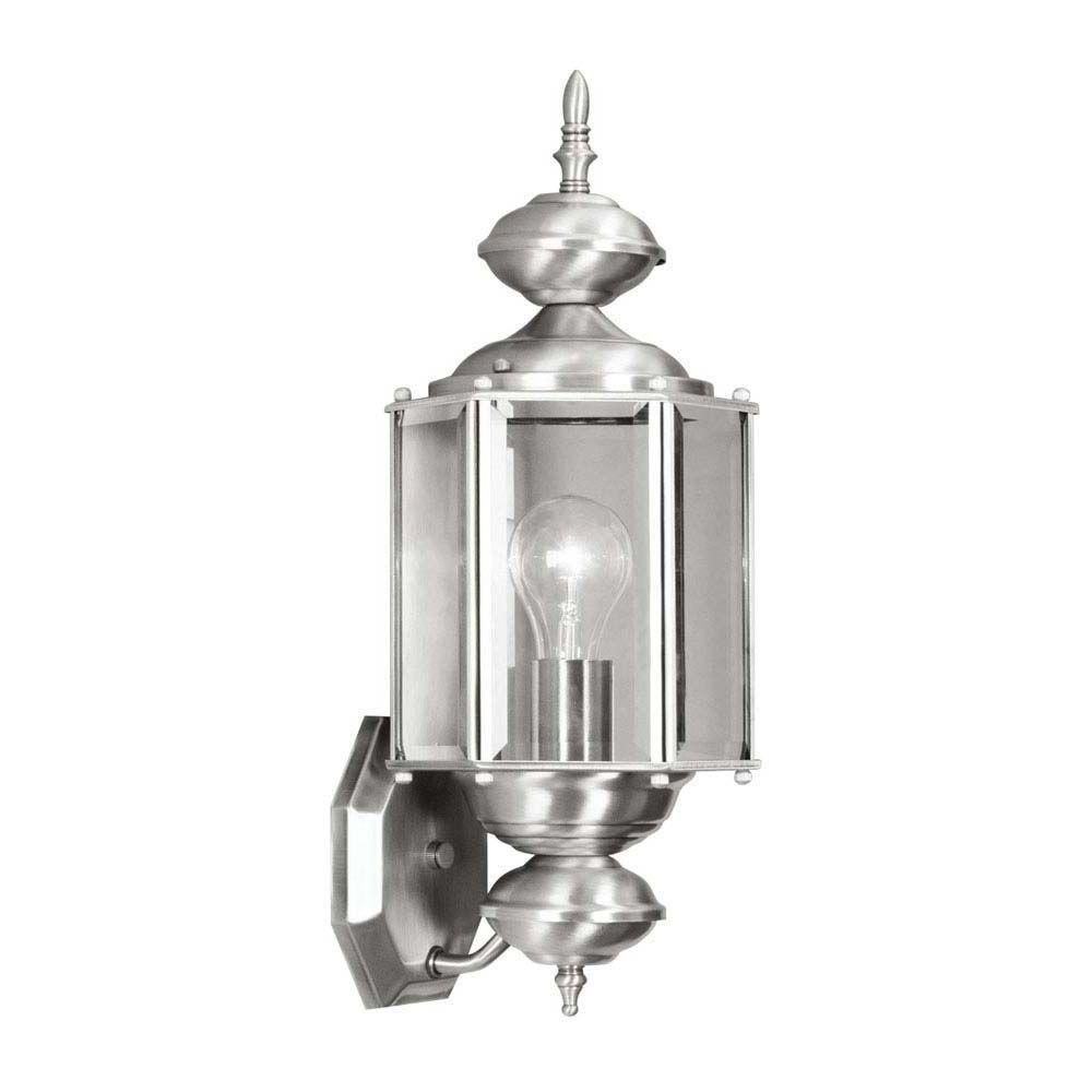 Livex Lighting Wall-Mount 1-Light Brushed Nickel Outdoor Incandescent Lantern
