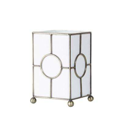 9 in. Golden Metal White Fabric Uplight