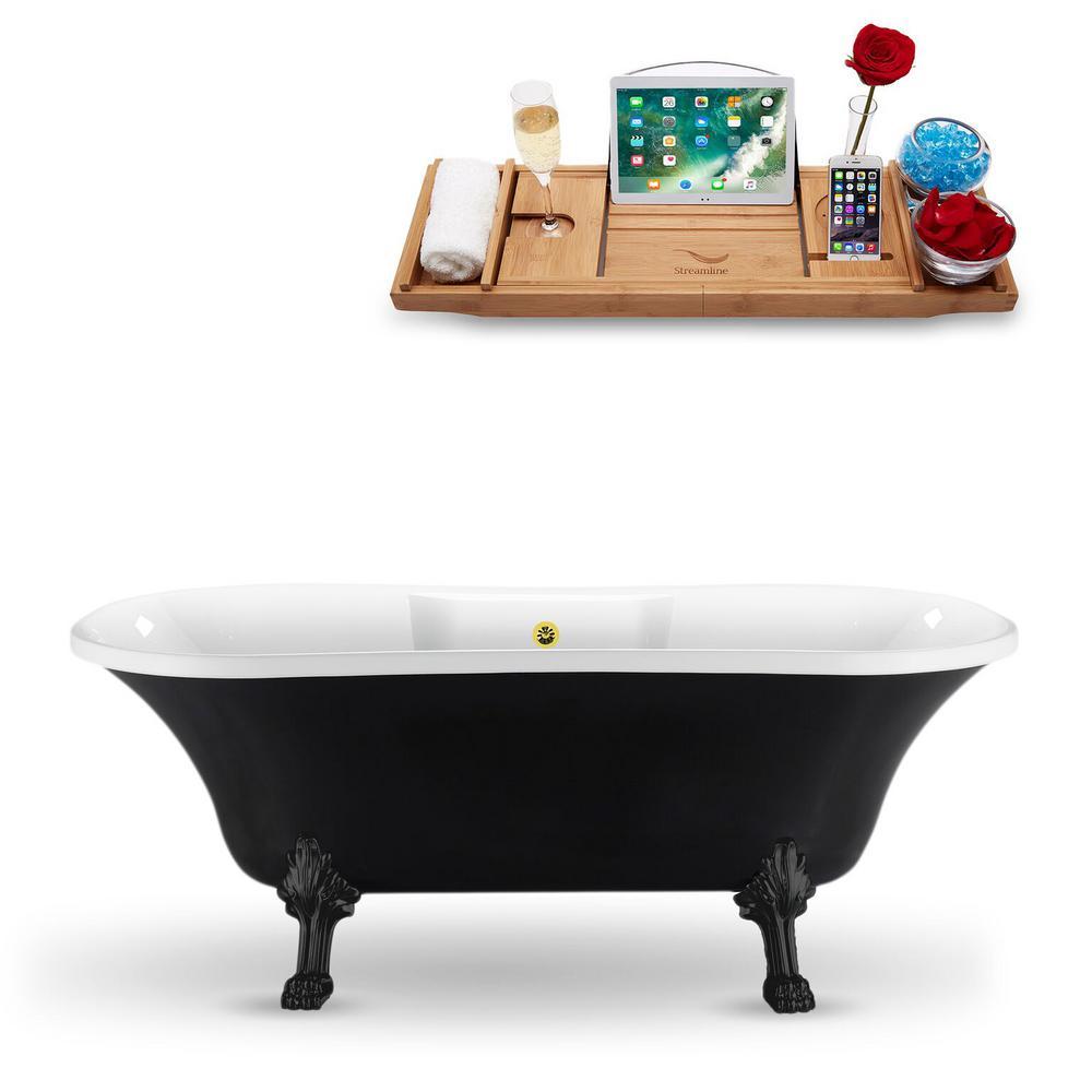 68 in. Acrylic Fiberglass Clawfoot Non-Whirlpool Bathtub in Black