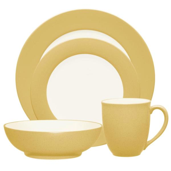 Colorwave Rim 4-Piece Casual Mustard Stoneware Dinnerware Set (Service for 1)