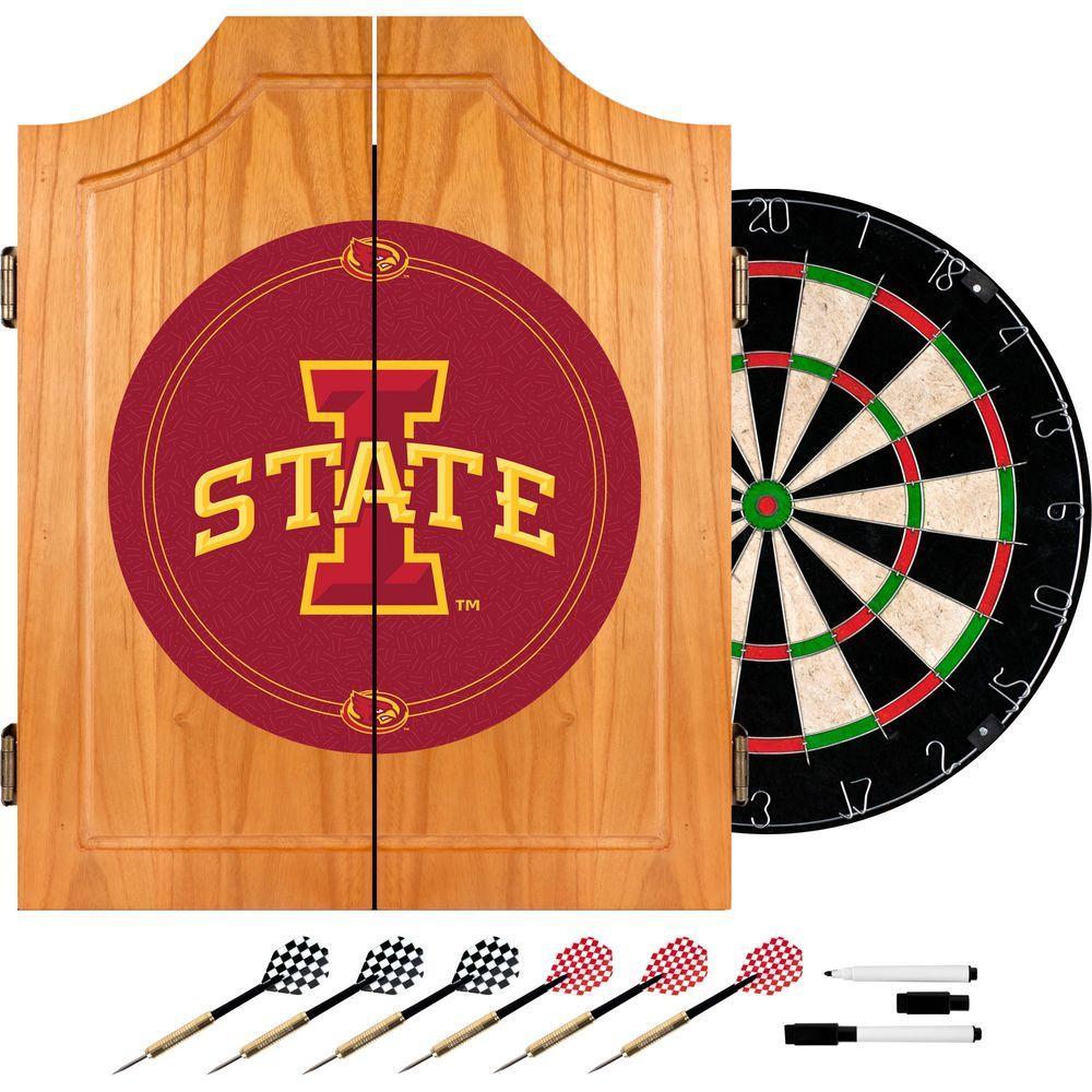 Lowa State University Wood Finish Dart Cabinet Set