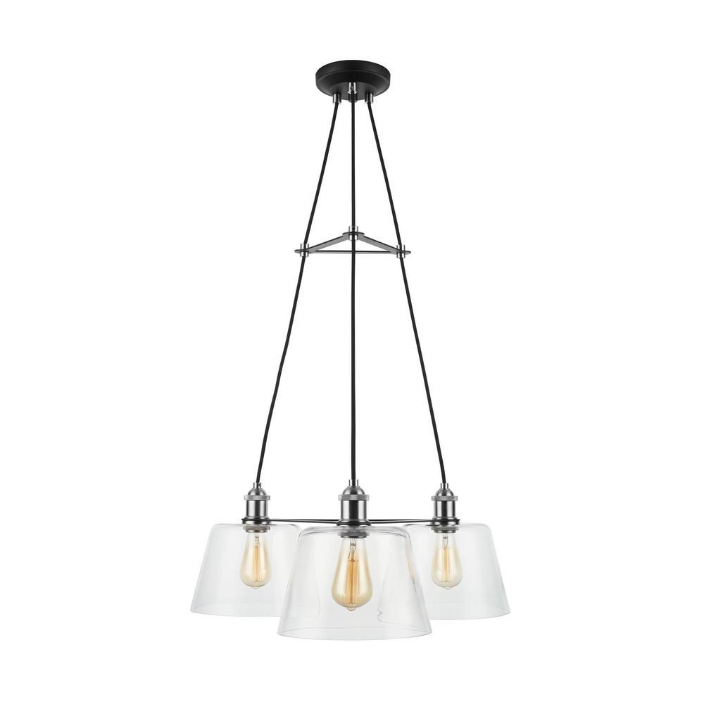 Home Decorators Collection Sherman 3-Light Black Chandelier with Nickel Accents