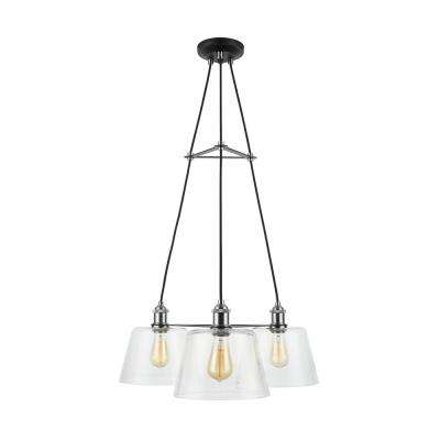 Sherman 3-Light Black Chandelier with Nickel Accents