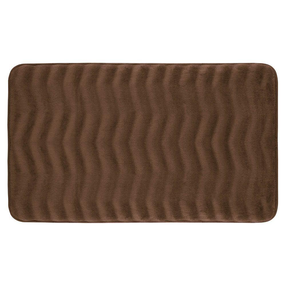 BounceComfort Waves Mocha 20 in. x 32 in. Memory Foam Bath Mat ...