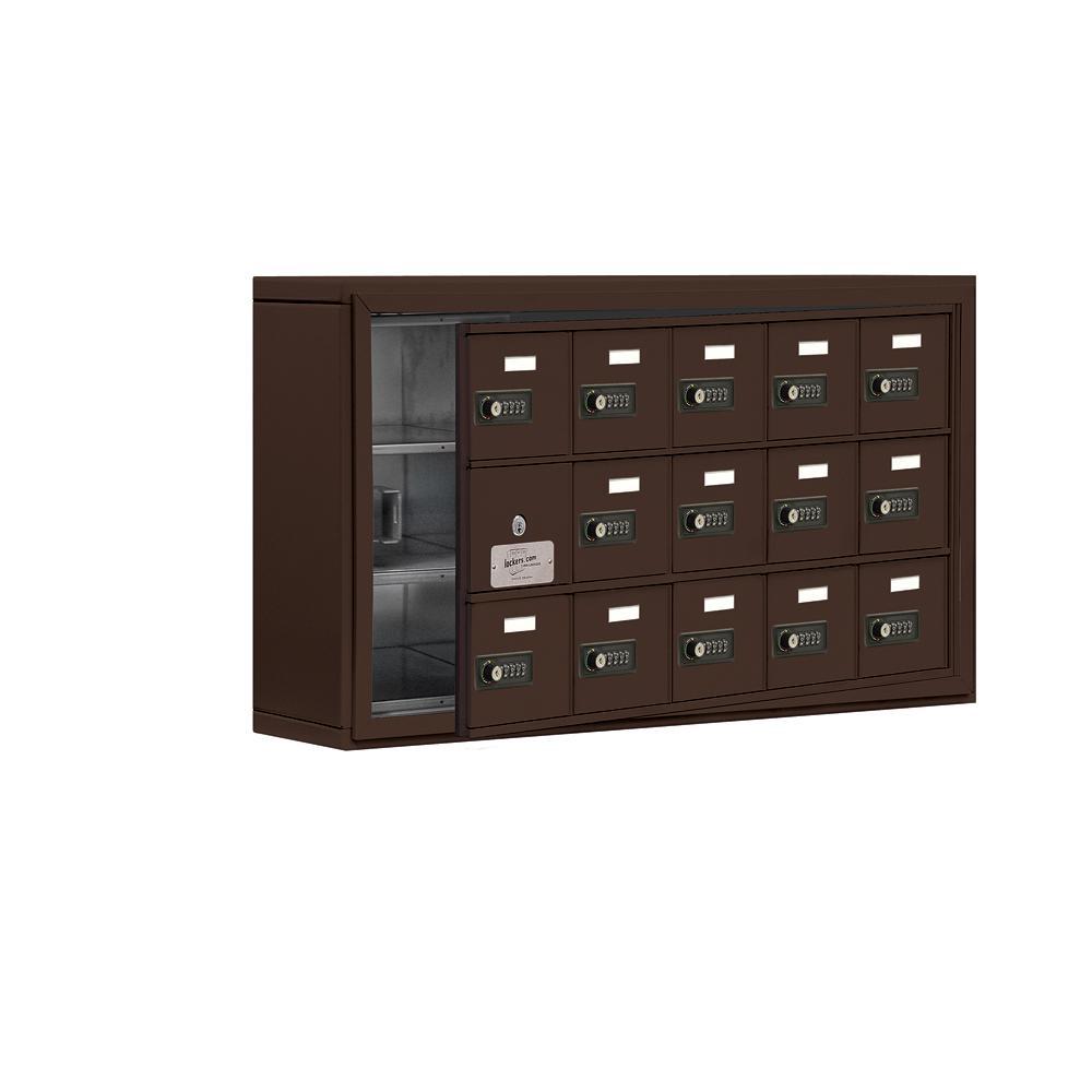 19100 Series 37 in. W x 20 in. H x 6.25 in. D 14 Doors Cell Phone Locker S-Mount Resettable Locks in Bronze