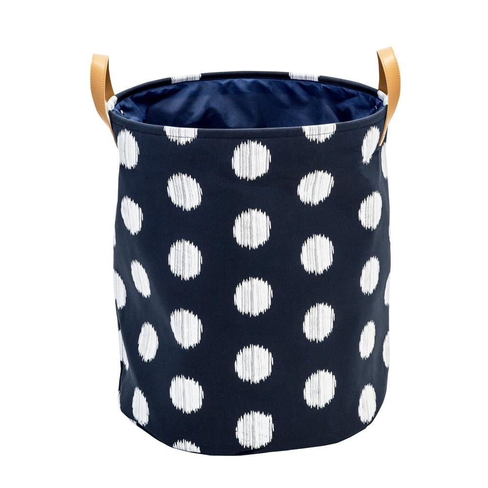 Honey Can Do Coastal Collection Navy And Grey Dot Canvas Laundry Basket