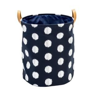 Honey-Can-Do Coastal Collection Navy and Grey Dot Canvas Laundry Basket by Honey-Can-Do