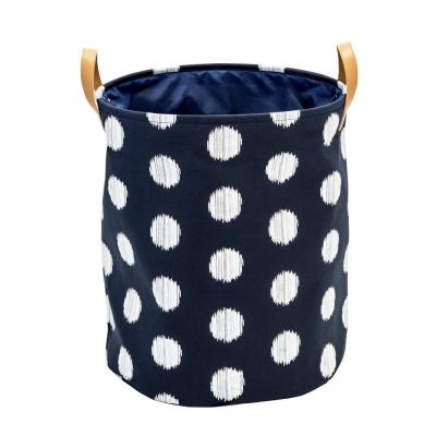 Coastal Collection Navy and Grey Dot Canvas Laundry Basket