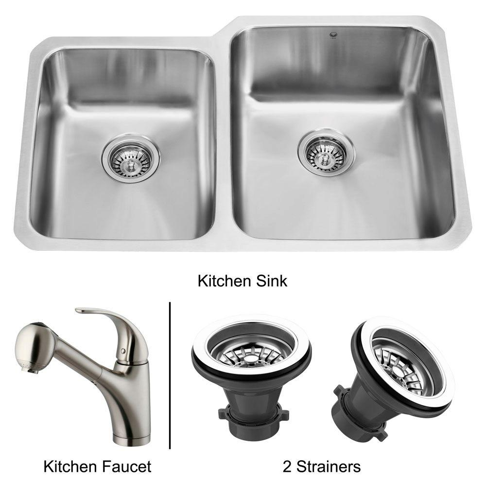 Vigo All-in-One Undermount Stainless Steel 32x21x9-1/2 0-Hole Double Basin Kitchen Sink-DISCONTINUED
