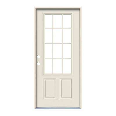 36 in. x 80 in. 12 Lite Primed Steel Prehung Right-Hand Inswing Front Door