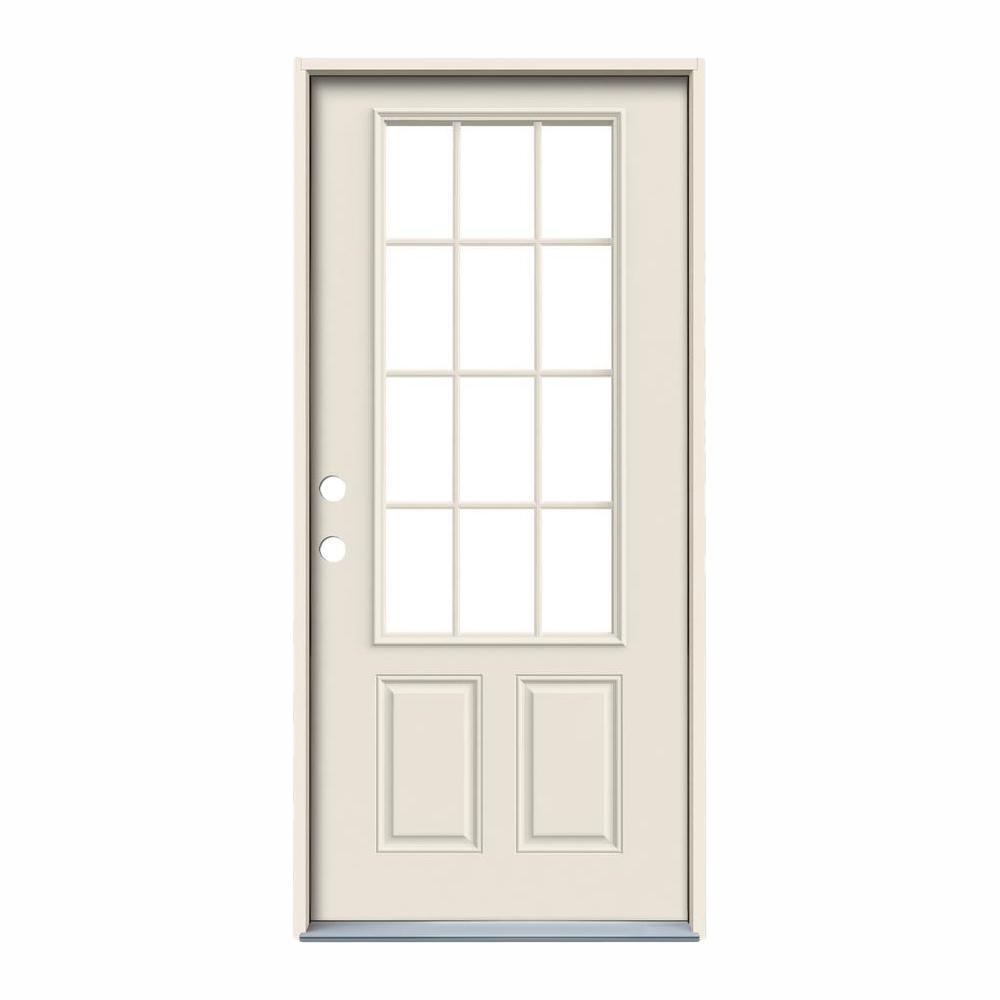 36 in. x 80 in. 12 Lite Primed Steel Prehung Right-Hand Inswing Back Door