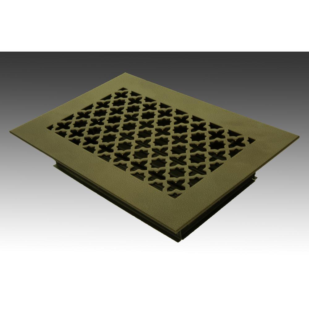 10 in. x 6 in. Oil Rubbed Bronze Poweder Coat Steel Floor Vent with Opposed Blade Damper