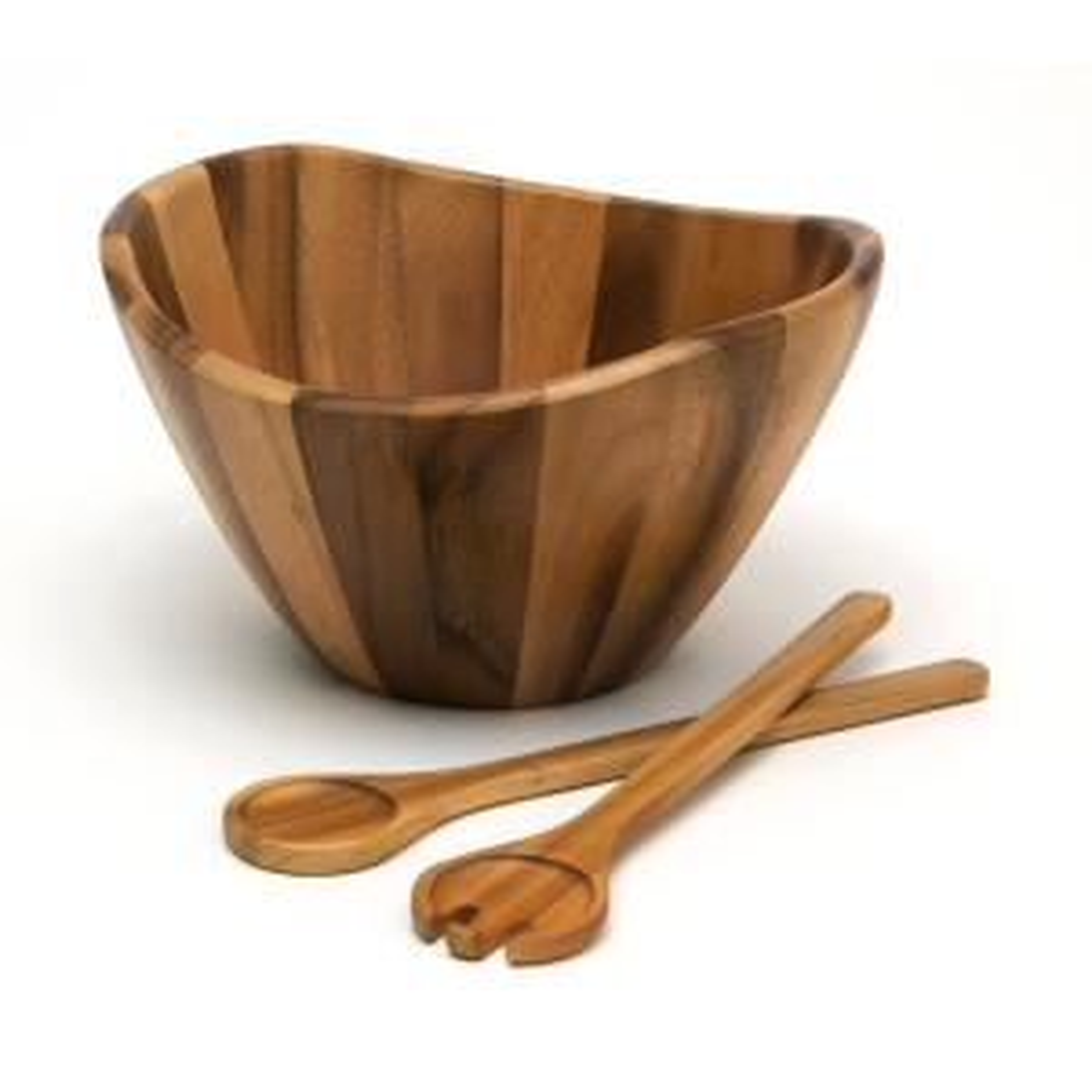 Acacia 12 in. Wavy Rim Bowl with Salad Servers