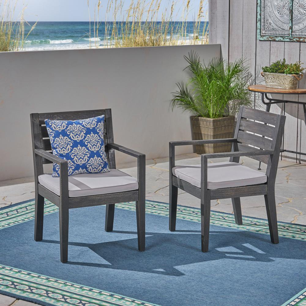 Cool Noble House Tegan Sandblast Dark Grey Stationary Wood Outdoor Dining Chair With Light Gray Cushion 2 Pack Onthecornerstone Fun Painted Chair Ideas Images Onthecornerstoneorg