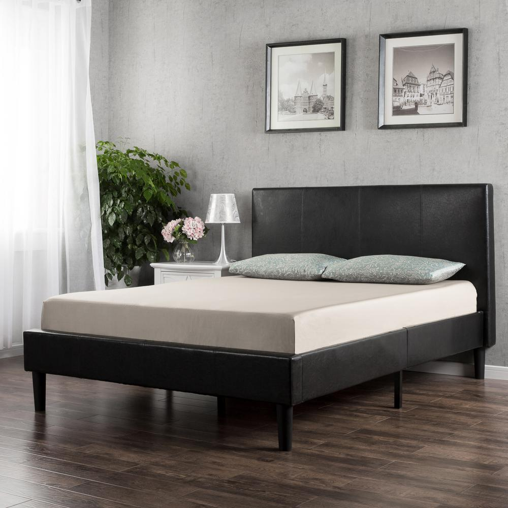 Pictures of platform beds - Zinus Deluxe Upholstered Faux Leather Espresso Twin Platform Bed