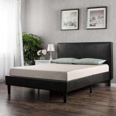 Deluxe Upholstered Faux Leather Espresso Twin Platform Bed