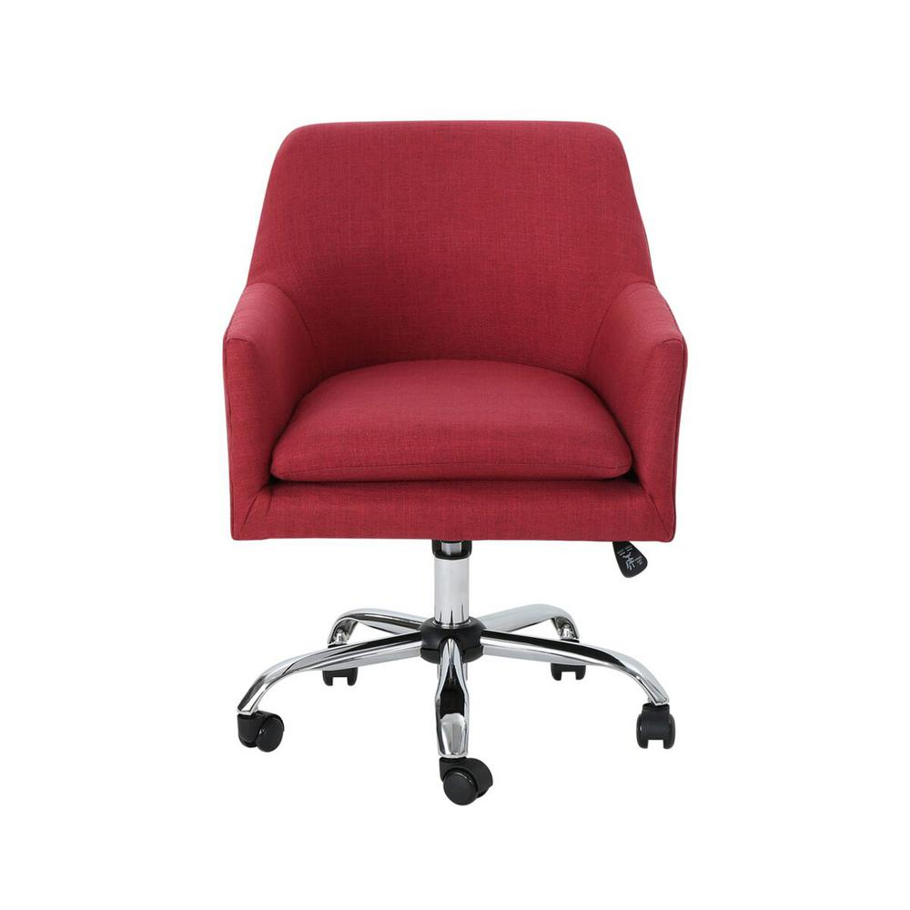 Noble House Johnson Mid Century Modern Red Fabric Adjustable Home Office Chair With Wheels 53041 The Home Depot