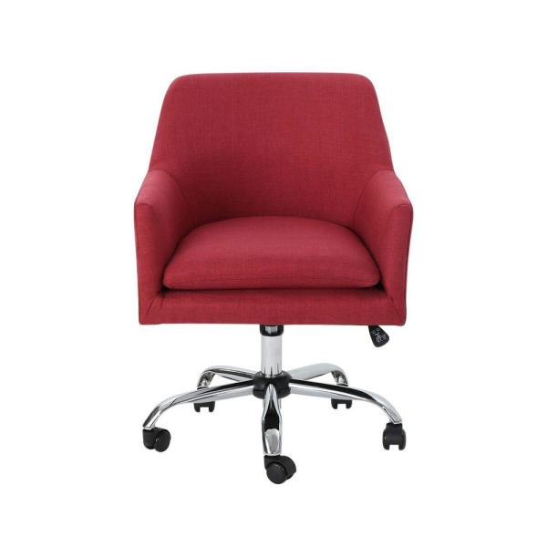 Johnson Mid-Century Modern Red Fabric Adjustable Home Office Chair with Wheels
