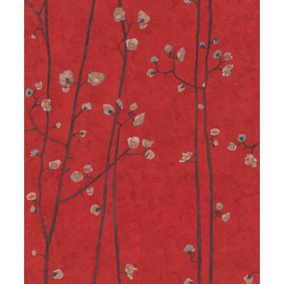 Bright Red Plum Branches Wallpaper