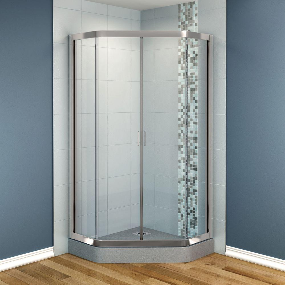 MAAX Intuition 36 in. x 36 in. x 70 in. Neo-Angle Frameless Corner Shower Door with Clear Glass in Nickel Finish-DISCONTINUED