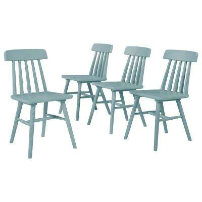 Edgewater 5-Piece Sky Blue Round Table and Armless Wood Dining Chairs