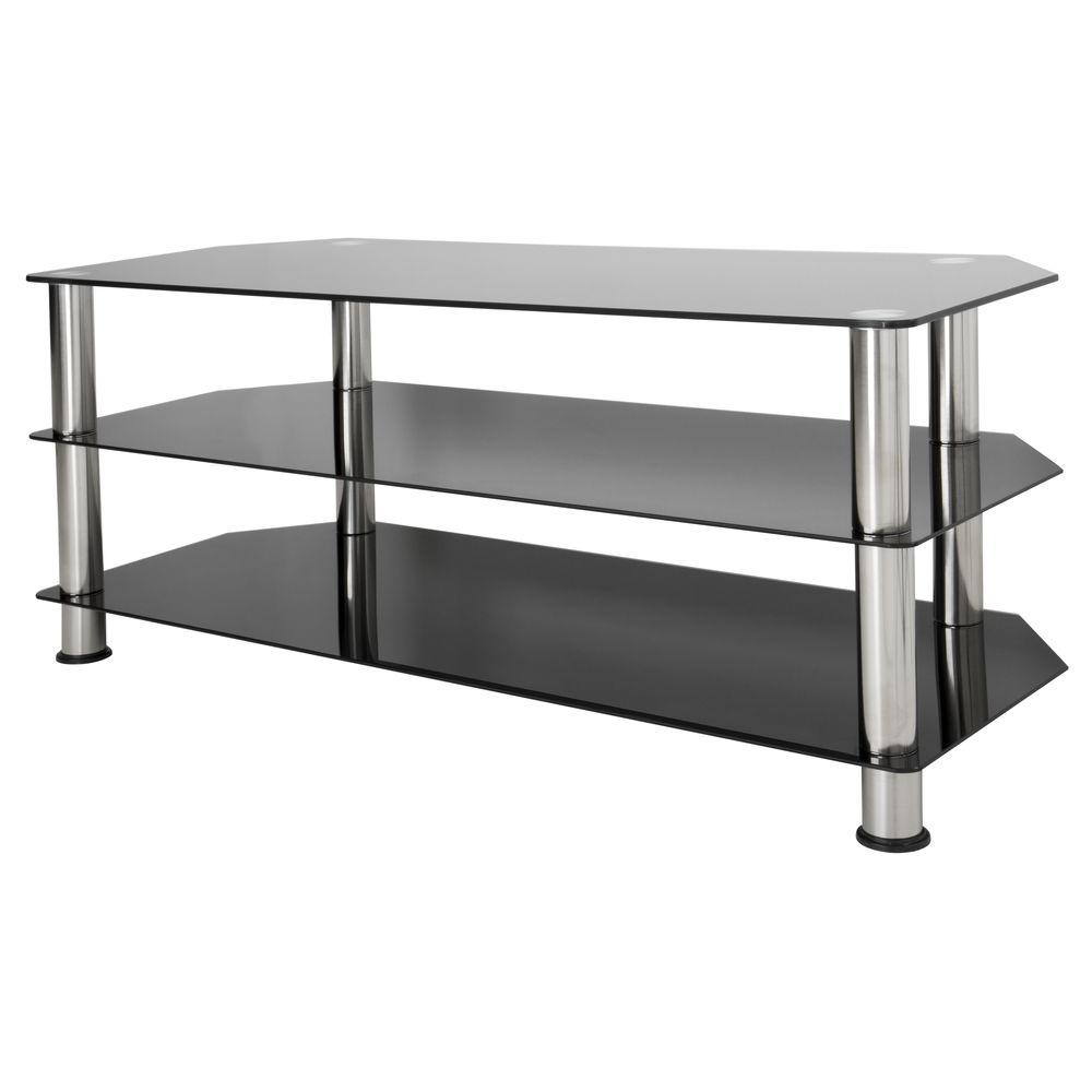 Avf Glass And Chrome Entertainment Center Sdc1140 A The Home Depot # Table Tv Avec Porte Cd