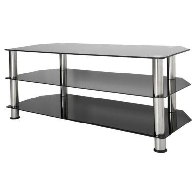 45 in. Black and Chrome Glass TV Stand Fits TVs Up to 55 in. with Open Storage