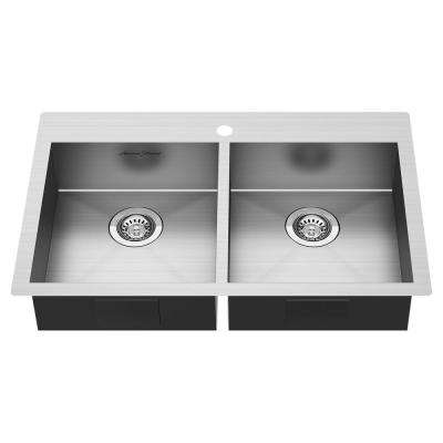 Edgewater Dual Mount Stainless Steel 33 in. ADA Double Bowl Kitchen Sink