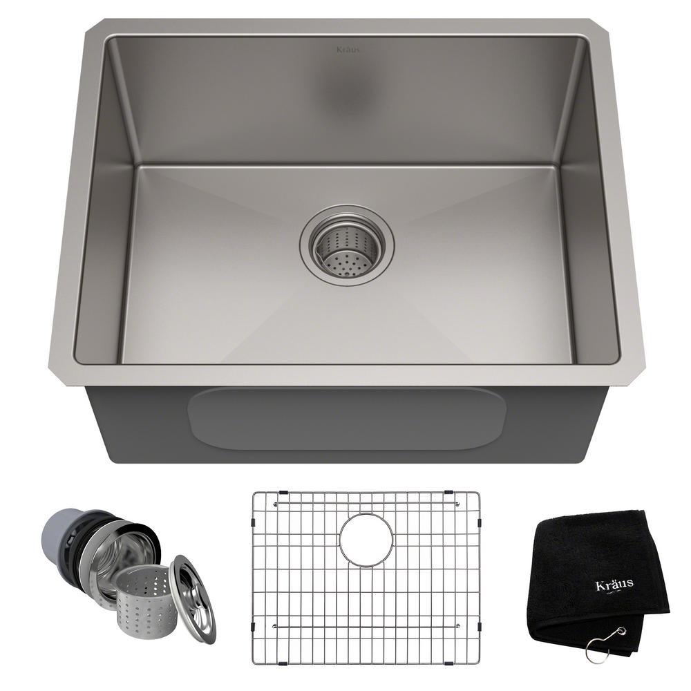 Standart PRO 23in. 16 Gauge Undermount Single Bowl Stainless Steel Kitchen Sink