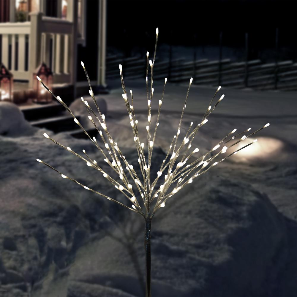 Christmas Bush Lights.Alpine Corporation 39 In Silver Taped Bush Lighting Decor With Warm White Led Lights