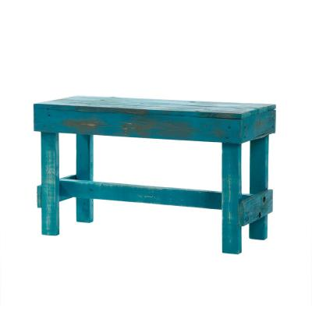 Reclaimed Barnwood Turquoise Bench